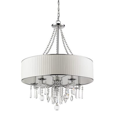 Crystal & Metal Drum Pendant Lighting Chandelier