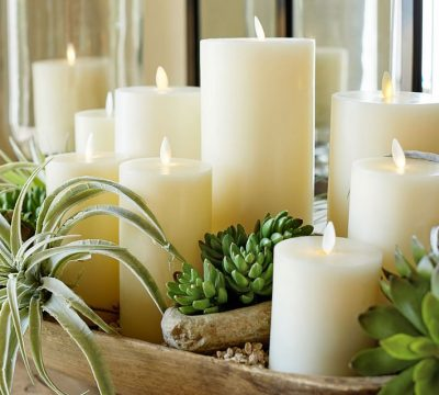 Premium Flickering Flameless Wax Candle – Ivory