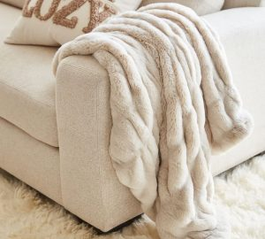 Ruched Faux Fur Throw – Ivory  60″x50″