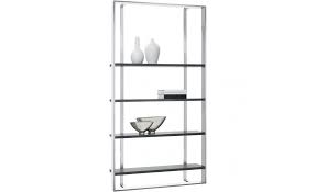Modern 48″ W Dalton Chrome Bookcase, Large