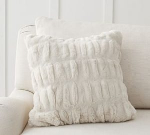 Faux Fur Ruched Pillow Cover